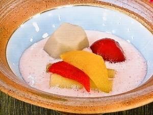 夏野菜のおひたし 梅豆乳ソース
