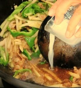 セロリと豚肉のレタス包み
