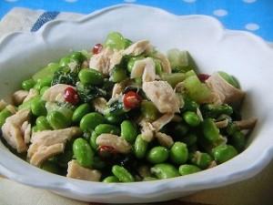枝豆とツナ、野沢菜炒め