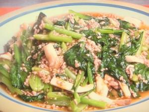 小松菜とエリンギのオイスターソース炒め