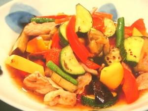 焼き野菜と豚肉の和風マリネ