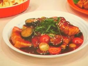 豚肉巻き高野豆腐&茄子の甘酢あん