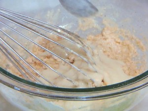 豆乳オリーブソース入りきな粉と枝豆のパンケーキ