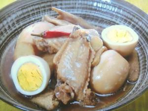 手羽先とゆで卵の酢じょうゆ煮