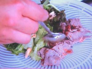 牛しゃぶ肉のピリ辛生春巻き
