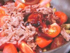 牛肉、なす、トマトのオイスターソース炒め