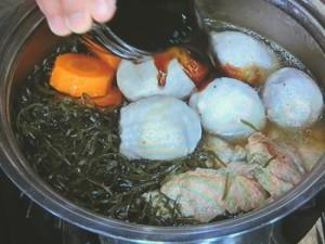 里芋と豚肉と昆布の照り煮