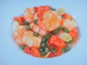えびとトマトの塩味炒め