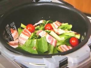 小松菜とベーコンの洋風炊き込み