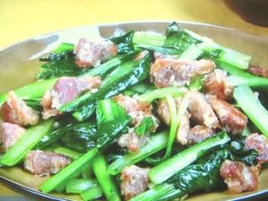 砂肝と小松菜のにんにく炒め