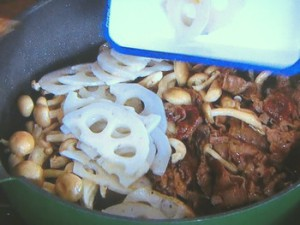 牛肉とレンコンの甘辛煮