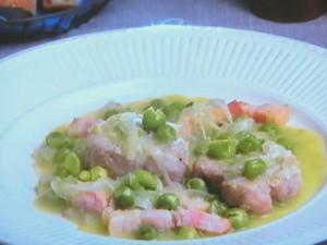 豚ヒレ肉とグリンピースの白ワイン煮