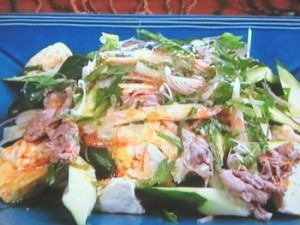 豆腐と牛肉のおかずサラダ