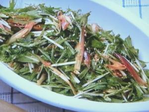 水菜とみょうがとおかかのサラダ