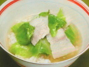 豚バラアとレタスのスープかけご飯