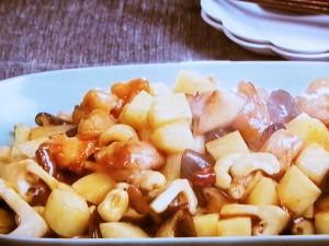 鶏肉、長芋、カシューナッツの炒めもの