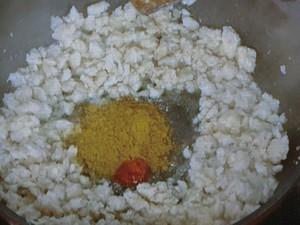揚げ餅のキーマカレー