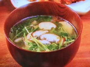 豆苗としいたけのスープ