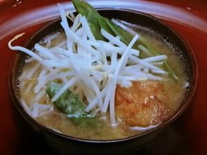 唐揚げと釜揚げ野菜の味噌汁