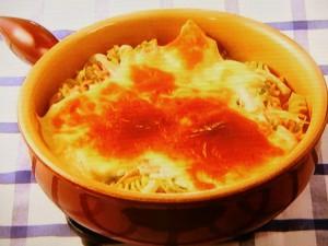 ハムと白菜の焼きチーズパスタ