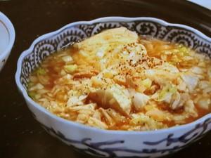 豚肉豆腐、ねぎの味噌汁