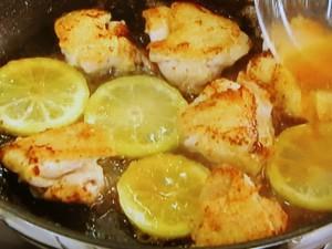 チキンとクレソンのレモンバター炒め