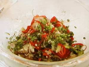 焼きなす夏野菜の冷製パスタ