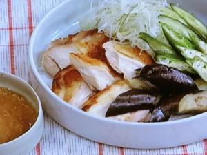 焼き鶏と夏野菜のごまみそがけ