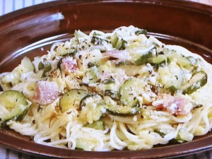 ズッキーニと卵のスパゲティ