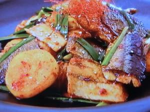 サンマと長イモのキムチ炒め