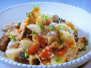 長芋と豚肉、福神漬のレンジ蒸し