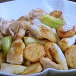 里芋、鶏肉、長ねぎの塩炒め