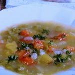 スプリットピーと押し麦のスープ