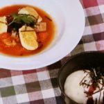 マグロの山かけ/トマトソースの山芋ニョッキ