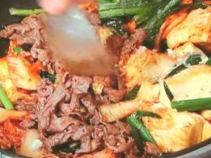牛肉と豆腐のキムチ炒め