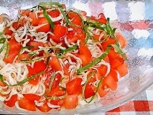 トマトとジャコの冷製オリーブ麺
