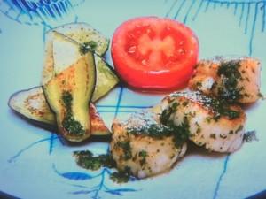 ホタテと夏野菜のフライパングリル