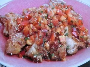 鶏のから揚げフレッシュトマトソース