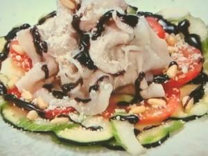夏野菜のカルパッチョ豚しゃぶのせ