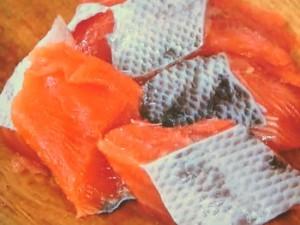 鮭とジャガイモの明太クリームソース
