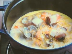 海の幸のクリーム鍋