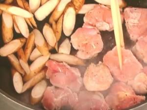 鶏とゴボウのしょうが味噌焼き