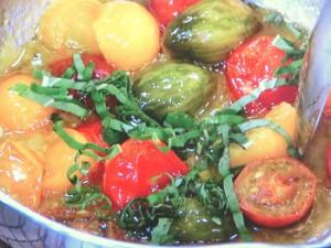 白身魚のポワレ カラフルトマトソース