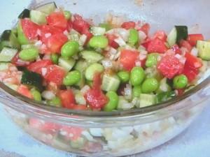 豚肉のソテー 枝豆と夏野菜のソース