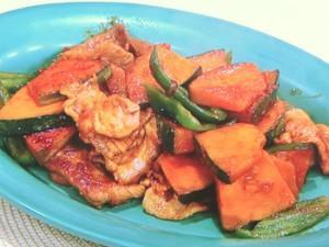 かぼちゃと豚肉のピリ辛炒め