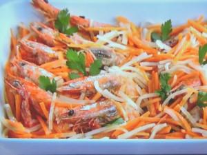 海老と紅白野菜のエスカベッシュ