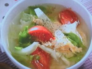 レタスとトマトの卵スープ