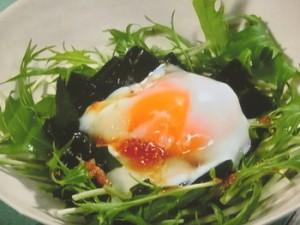 水菜とわかめの温泉卵のせ