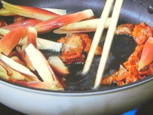 豚肉と枝豆のみょうが焼き