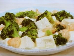 えびとブロッコリーのうま塩豆腐